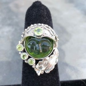 Jewelry - Sterling Silver Green Quartz Face Ring Sz 7.5